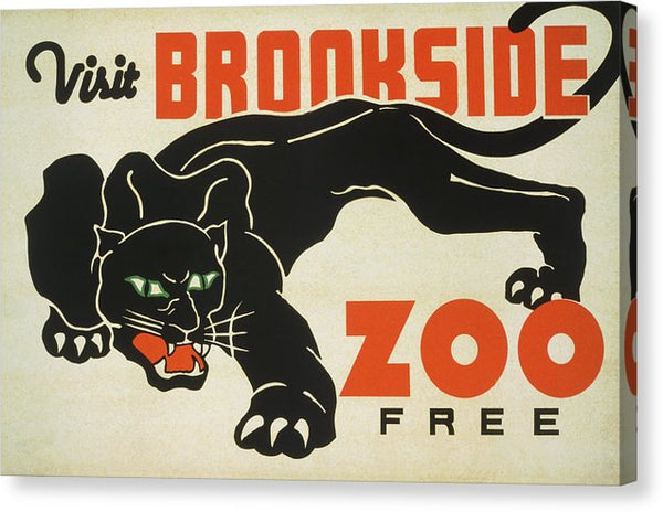 Vintage Visit Brookside Zoo Black Panther Poster, 1937 - Canvas Print from Wallasso - The Wall Art Superstore