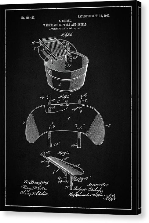 Vintage Washboard Patent, 1907 - Canvas Print from Wallasso - The Wall Art Superstore