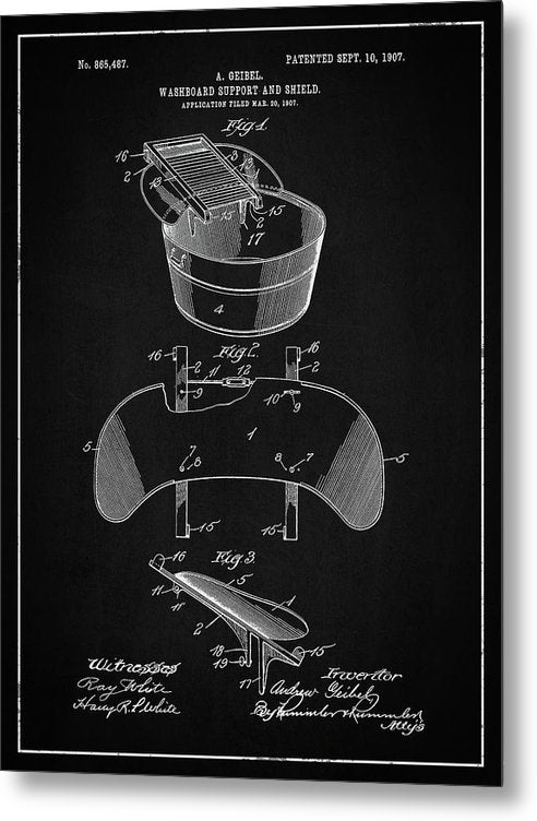 Vintage Washboard Patent, 1907 - Metal Print from Wallasso - The Wall Art Superstore