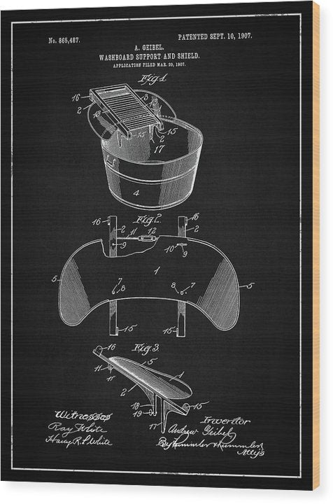 Vintage Washboard Patent, 1907 - Wood Print from Wallasso - The Wall Art Superstore