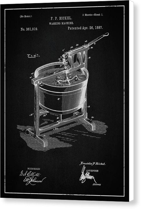 Vintage Washing Machine Patent, 1887 - Canvas Print from Wallasso - The Wall Art Superstore