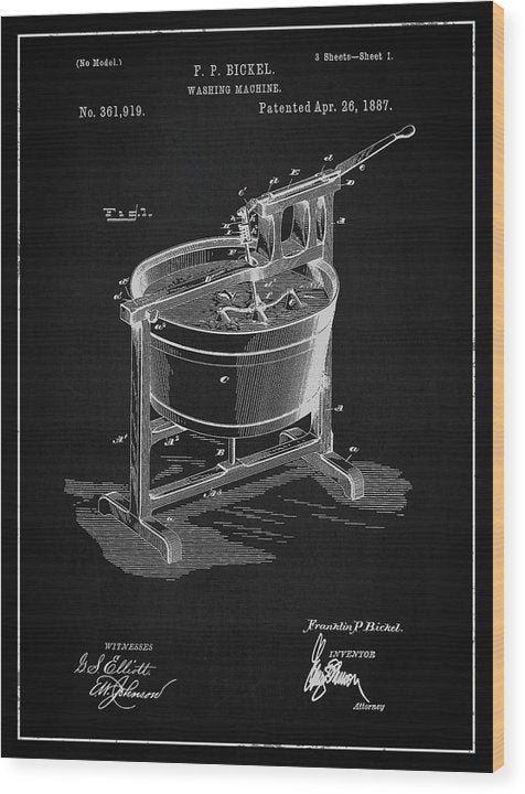 Vintage Washing Machine Patent, 1887 - Wood Print from Wallasso - The Wall Art Superstore