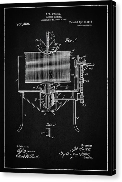 Vintage Washing Machine Patent, 1910 - Canvas Print from Wallasso - The Wall Art Superstore
