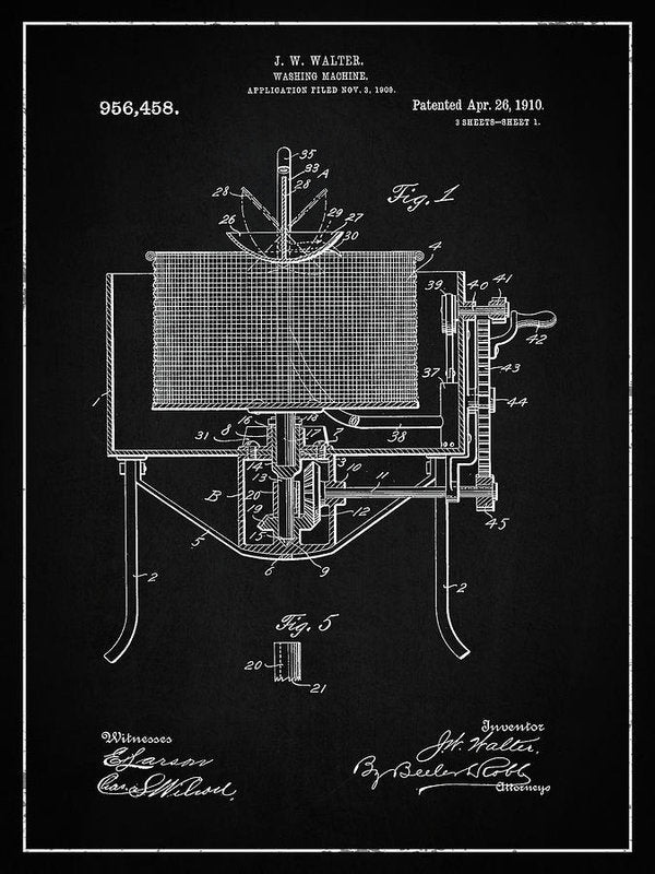 Vintage Washing Machine Patent, 1910 - Art Print from Wallasso - The Wall Art Superstore