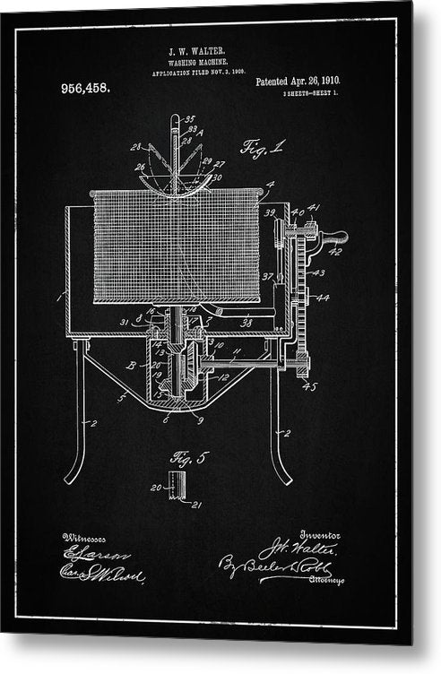 Vintage Washing Machine Patent, 1910 - Metal Print from Wallasso - The Wall Art Superstore