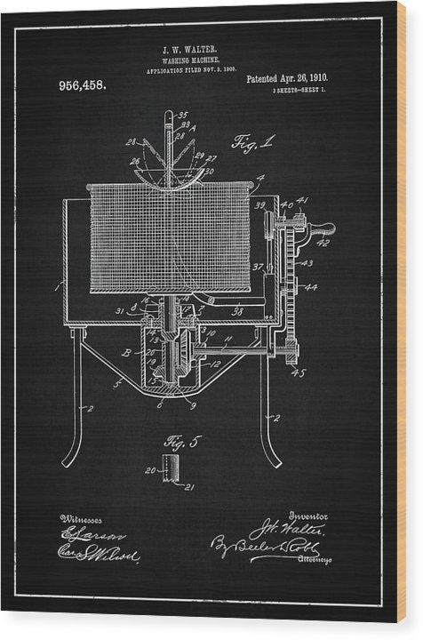 Vintage Washing Machine Patent, 1910 - Wood Print from Wallasso - The Wall Art Superstore