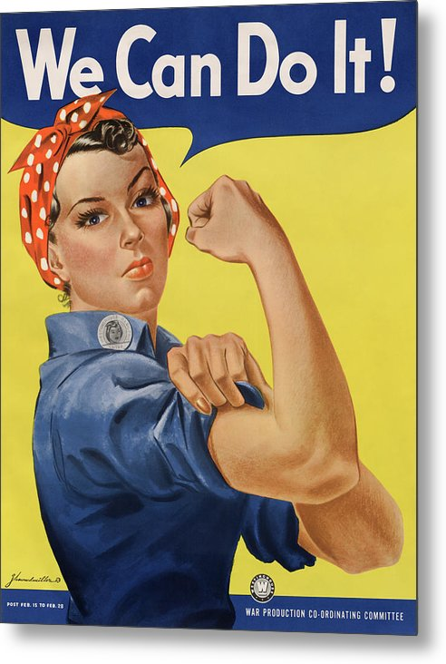Vintage We Can Do It Rosie The Riveter Poster, 1943 - Metal Print from Wallasso - The Wall Art Superstore