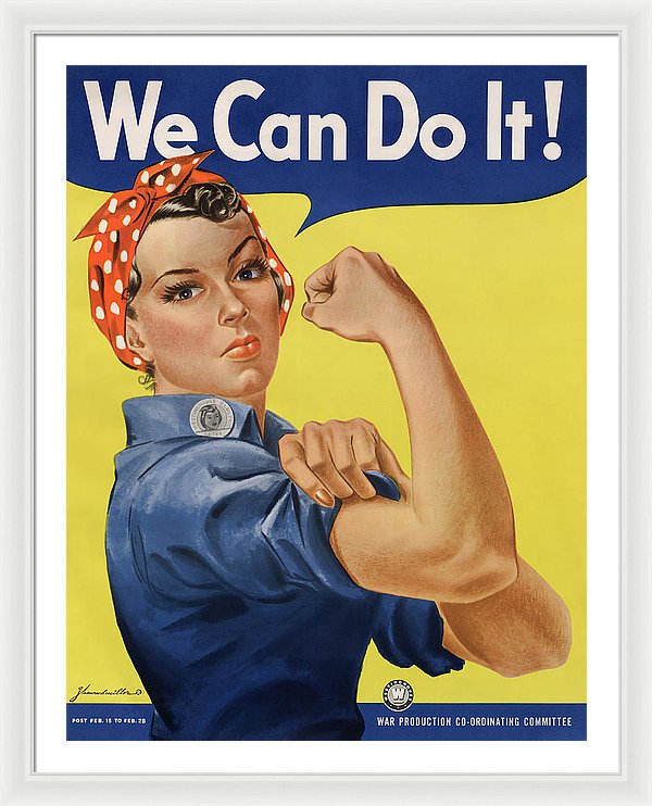 Vintage We Can Do It Rosie The Riveter Poster, 1943 - Framed Print from Wallasso - The Wall Art Superstore