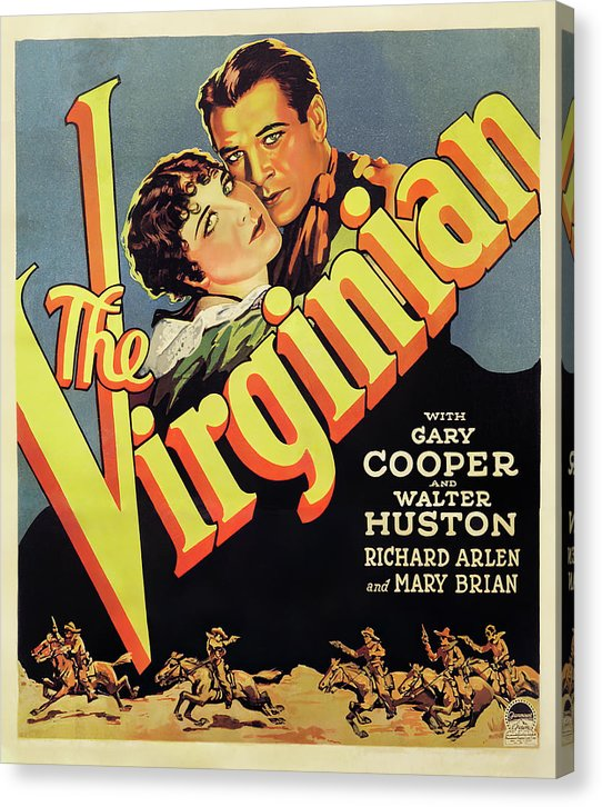 Vintage Western The Virginian Movie Poster, 1929 - Canvas Print from Wallasso - The Wall Art Superstore