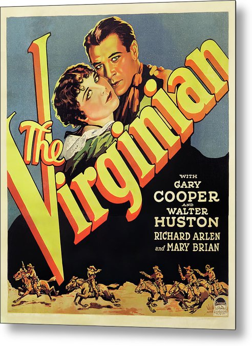 Vintage Western The Virginian Movie Poster, 1929 - Metal Print from Wallasso - The Wall Art Superstore