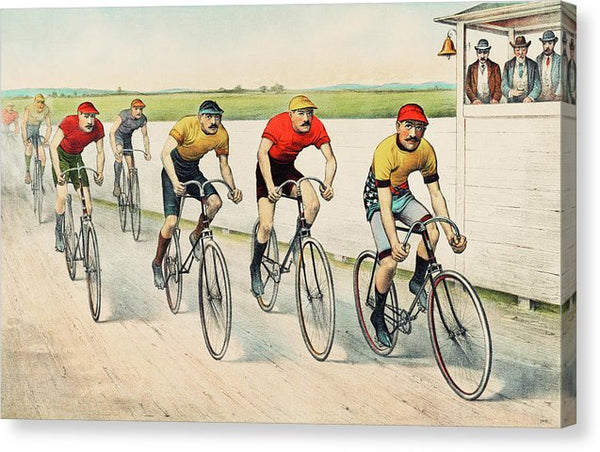 Vintage Wheelman In A Red Hot Finish Illustration - Canvas Print from Wallasso - The Wall Art Superstore