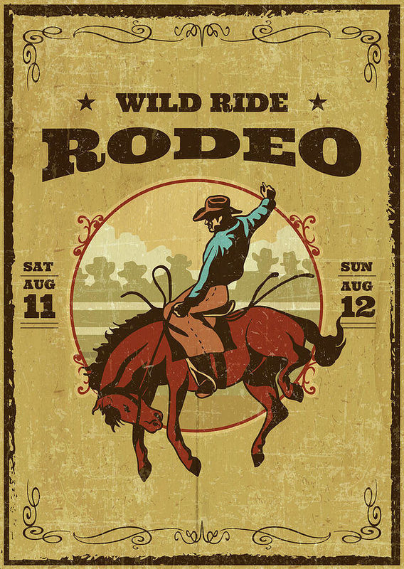 Vintage Wild Ride Bucking Bronco Rodeo Poster - Art Print from Wallasso - The Wall Art Superstore