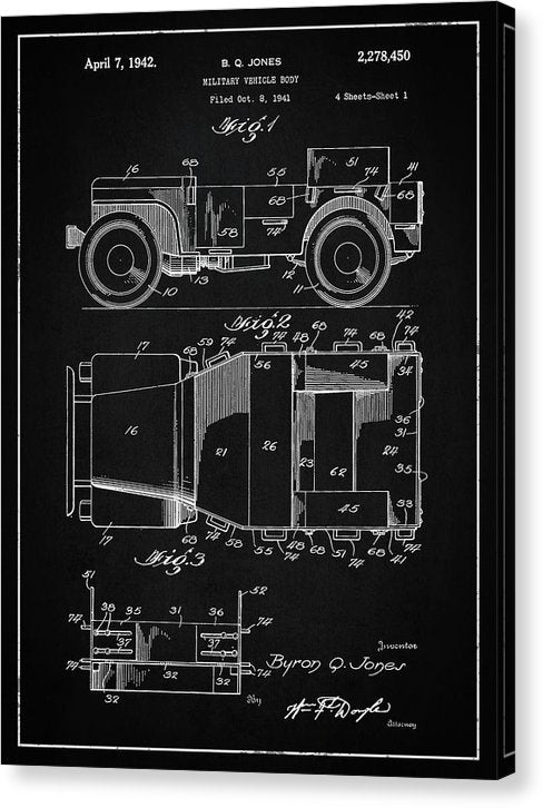 Vintage Willys Jeep Patent, 1941 - Canvas Print from Wallasso - The Wall Art Superstore