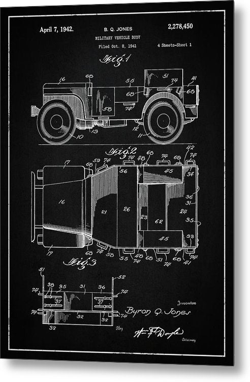 Vintage Willys Jeep Patent, 1941 - Metal Print from Wallasso - The Wall Art Superstore