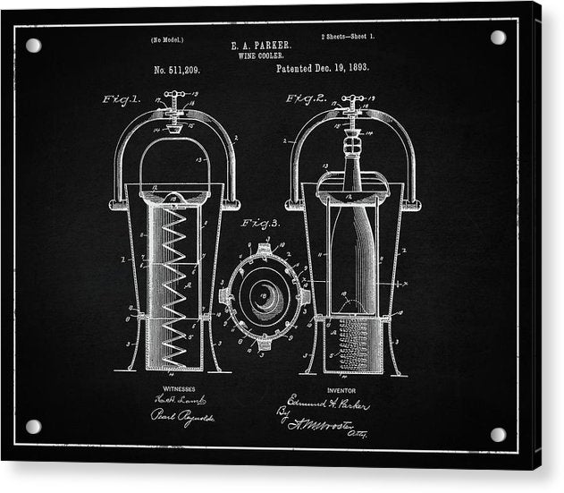 Vintage Wine Cooler Patent, 1893 - Acrylic Print from Wallasso - The Wall Art Superstore