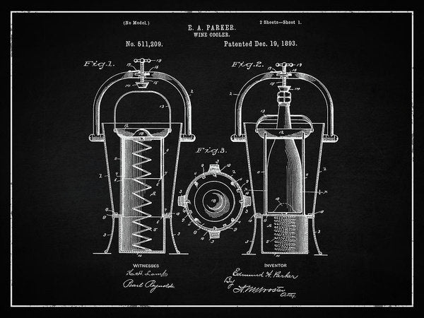 Vintage Wine Cooler Patent, 1893 - Art Print from Wallasso - The Wall Art Superstore