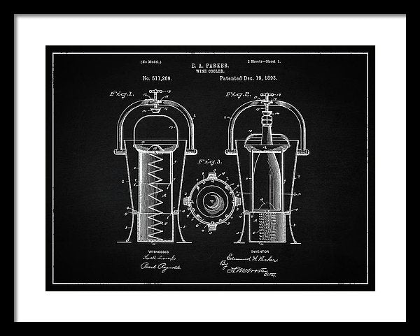 Vintage Wine Cooler Patent, 1893 - Framed Print from Wallasso - The Wall Art Superstore
