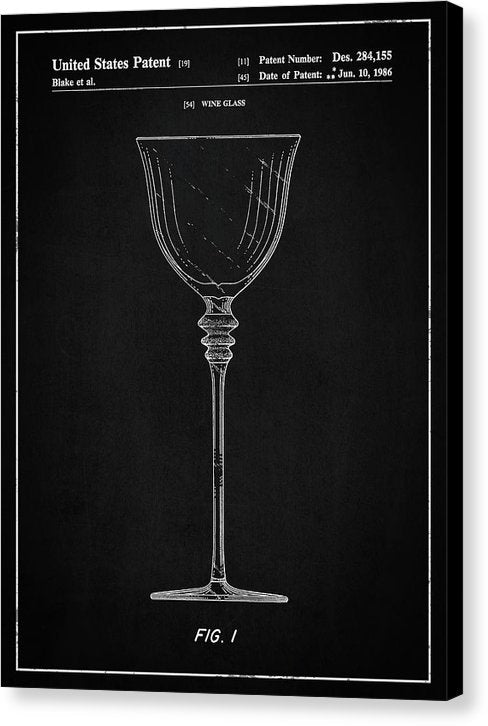 Vintage Wine Glass Patent, 1986 - Canvas Print from Wallasso - The Wall Art Superstore
