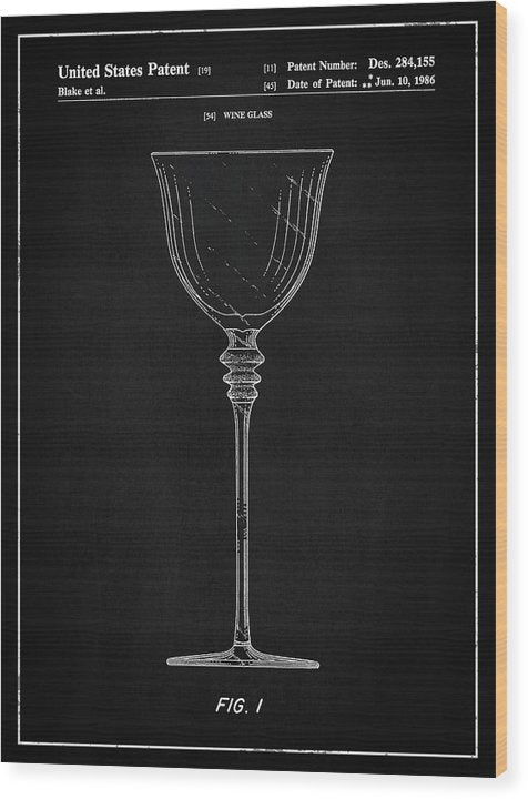 Vintage Wine Glass Patent, 1986 - Wood Print from Wallasso - The Wall Art Superstore