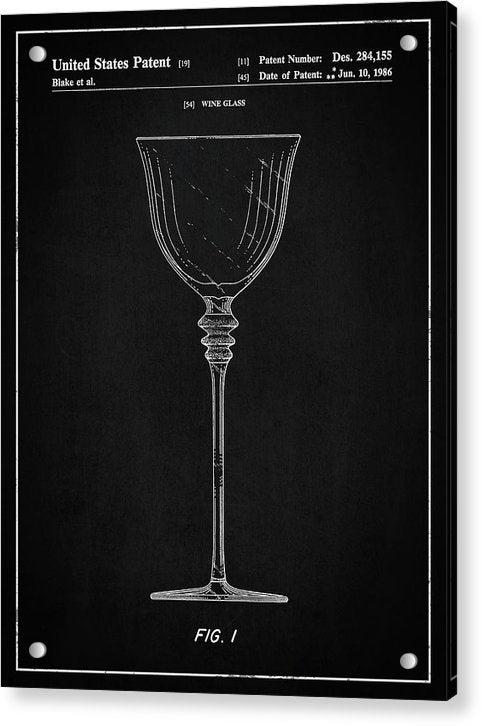 Vintage Wine Glass Patent, 1986 - Acrylic Print from Wallasso - The Wall Art Superstore