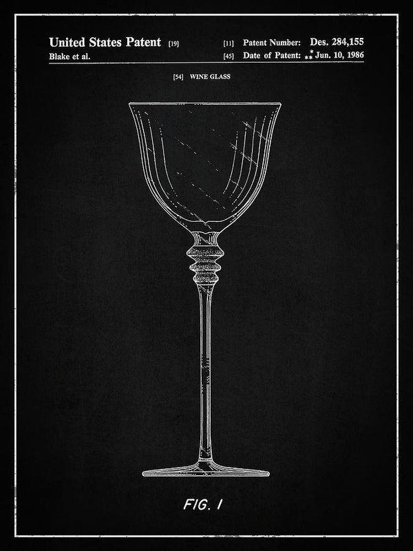 Vintage Wine Glass Patent, 1986 - Art Print from Wallasso - The Wall Art Superstore