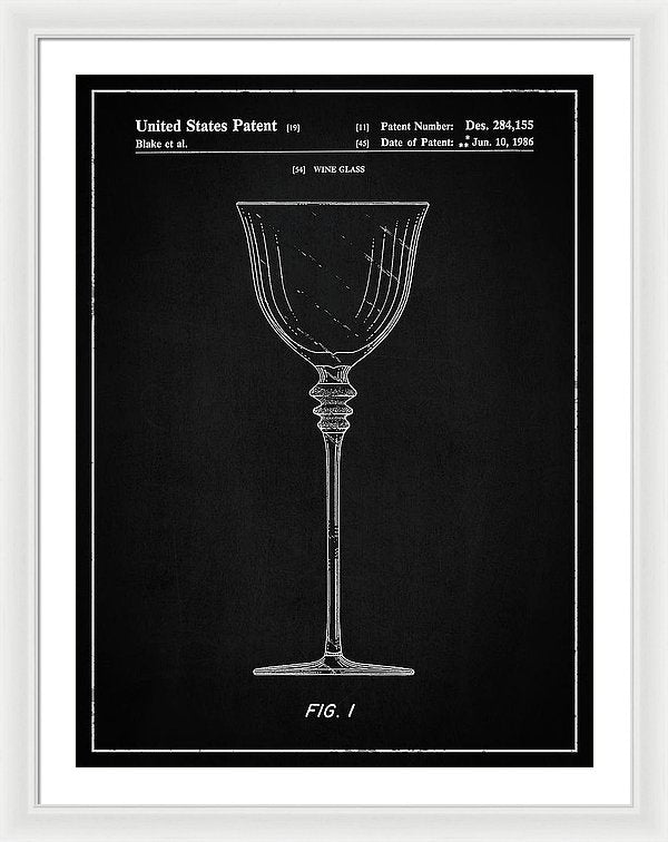 Vintage Wine Glass Patent, 1986 - Framed Print from Wallasso - The Wall Art Superstore