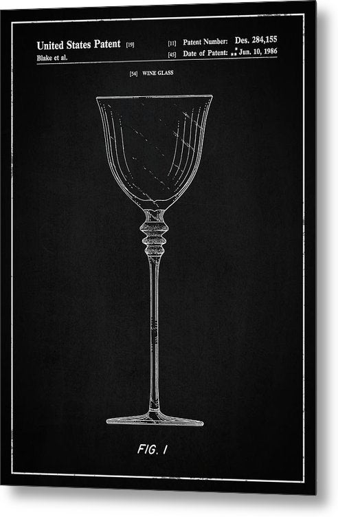 Vintage Wine Glass Patent, 1986 - Metal Print from Wallasso - The Wall Art Superstore