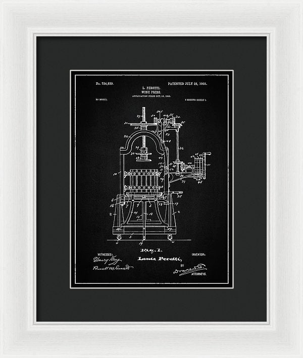 Vintage Wine Press Patent, 1903 - Framed Print from Wallasso - The Wall Art Superstore