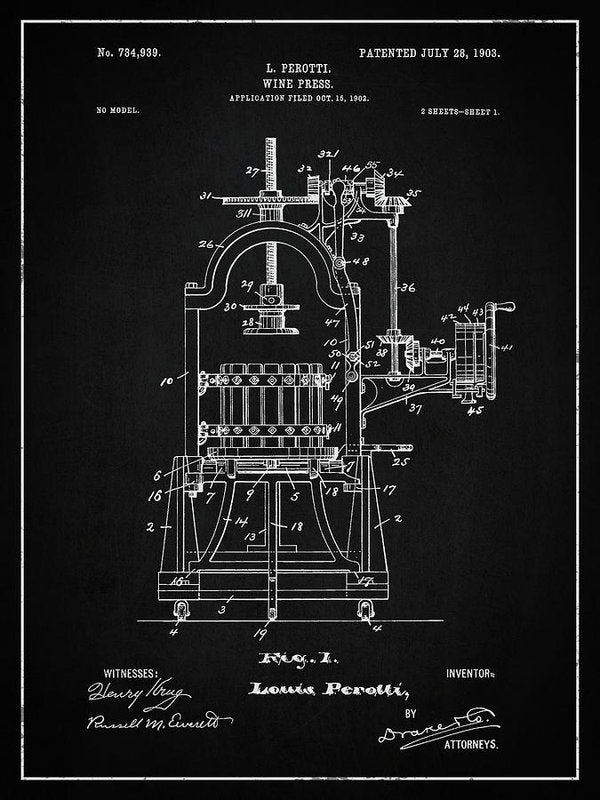 Vintage Wine Press Patent, 1903 - Art Print from Wallasso - The Wall Art Superstore