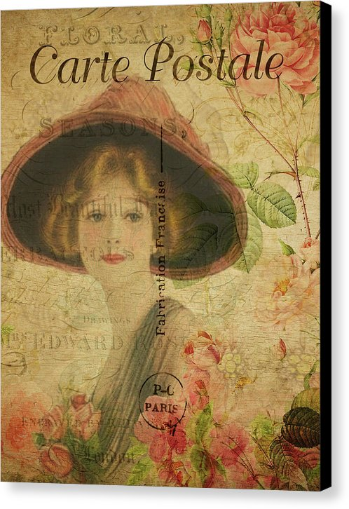 Vintage Woman In Hat Decoupage Design - Canvas Print from Wallasso - The Wall Art Superstore
