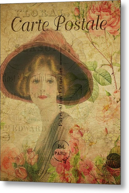 Vintage Woman In Hat Decoupage Design - Metal Print from Wallasso - The Wall Art Superstore