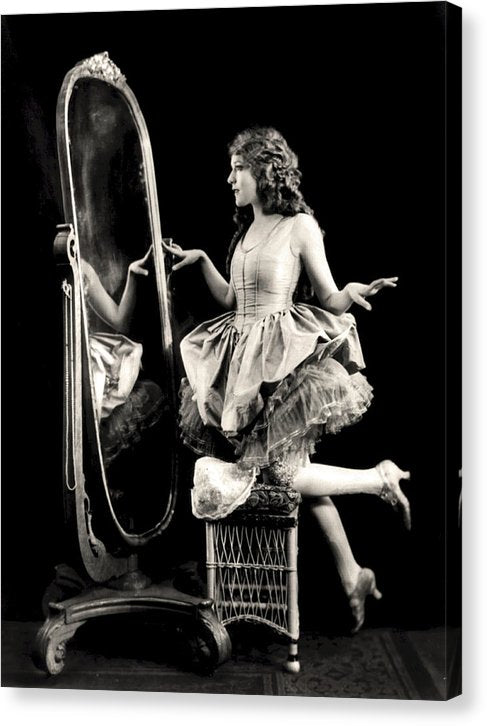 Vintage Woman Looking Into Full Length Mirror - Canvas Print from Wallasso - The Wall Art Superstore