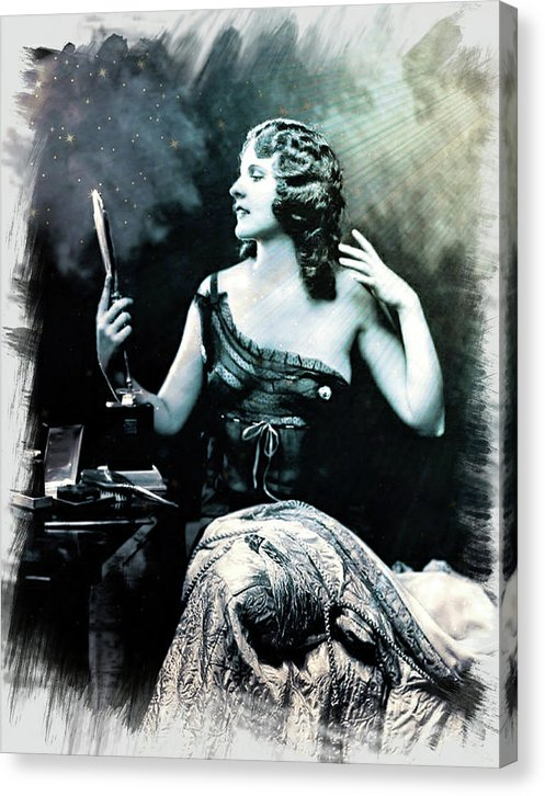 Vintage Woman Looking Into Handheld Mirror - Canvas Print from Wallasso - The Wall Art Superstore