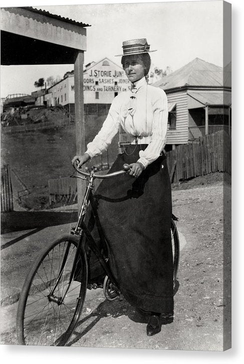 Vintage Woman On Bicycle, Ca. 1900 - Canvas Print from Wallasso - The Wall Art Superstore