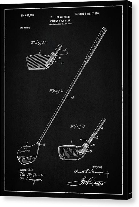 Vintage Wooden Golf Club Patent, 1901 - Canvas Print from Wallasso - The Wall Art Superstore