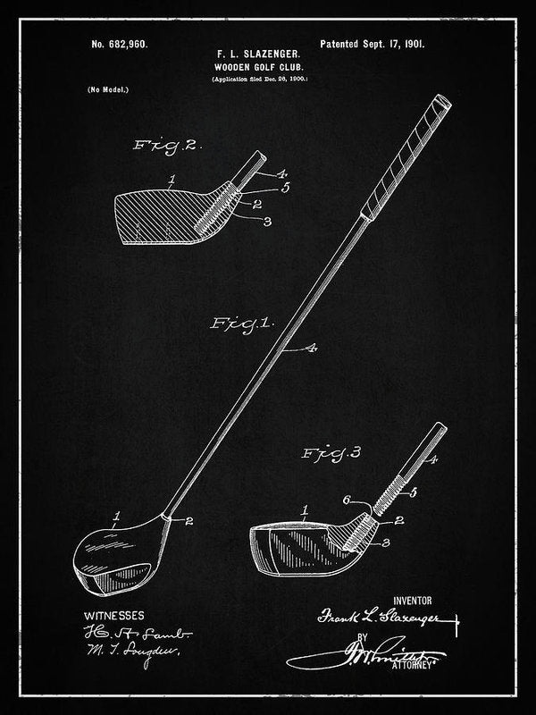 Vintage Wooden Golf Club Patent, 1901 - Art Print from Wallasso - The Wall Art Superstore