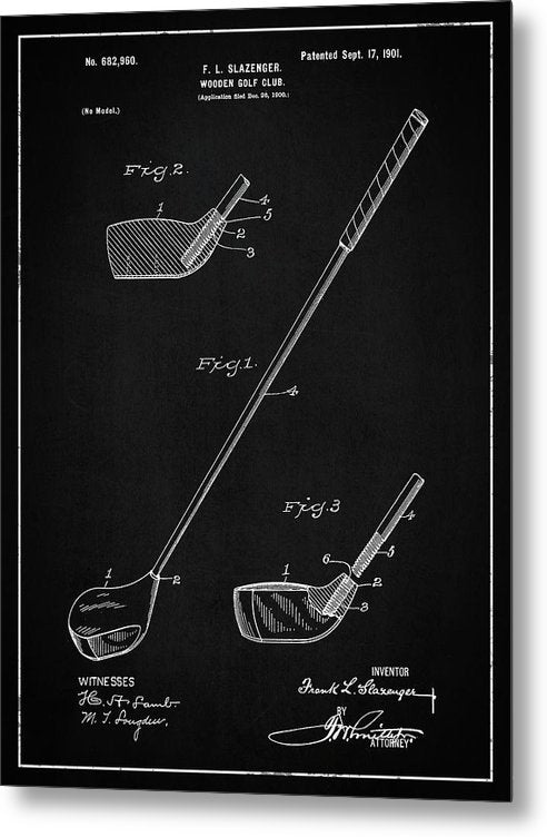 Vintage Wooden Golf Club Patent, 1901 - Metal Print from Wallasso - The Wall Art Superstore