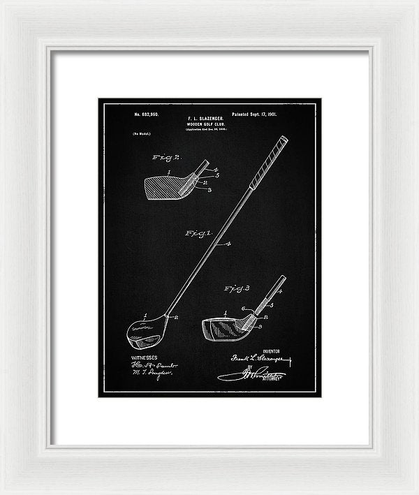 Vintage Wooden Golf Club Patent, 1901 - Framed Print from Wallasso - The Wall Art Superstore