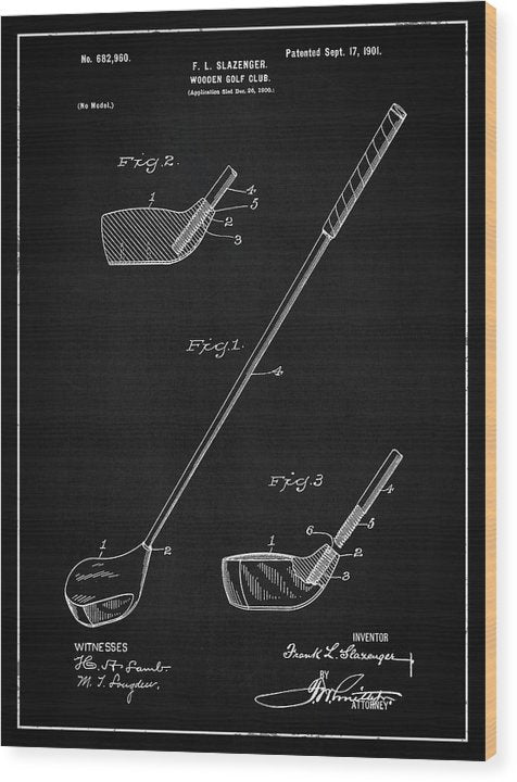 Vintage Wooden Golf Club Patent, 1901 - Wood Print from Wallasso - The Wall Art Superstore