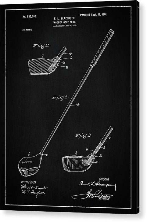 Vintage Wooden Golf Club Patent, 1901 - Acrylic Print from Wallasso - The Wall Art Superstore