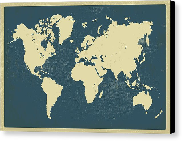 Vintage World Map Design - Canvas Print from Wallasso - The Wall Art Superstore