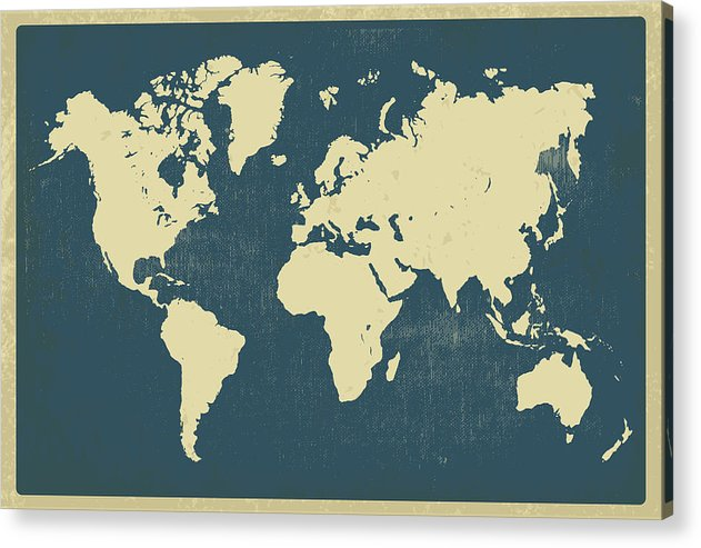 Vintage World Map Design - Acrylic Print from Wallasso - The Wall Art Superstore