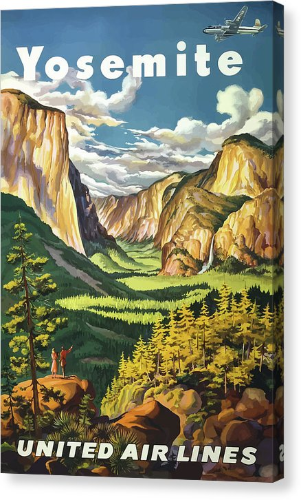 Stylized Vintage Yosemite National Park United Air Lines Travel Poster - Canvas Print from Wallasso - The Wall Art Superstore