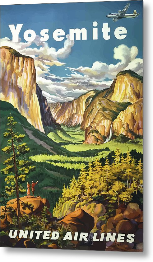 Stylized Vintage Yosemite National Park United Air Lines Travel Poster - Metal Print from Wallasso - The Wall Art Superstore