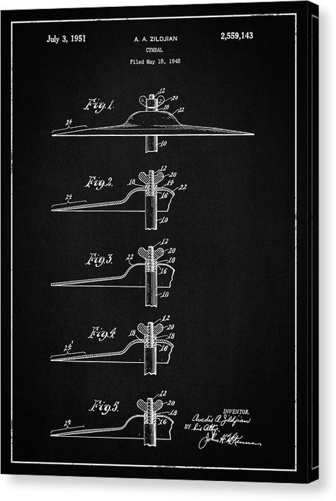 Vintage Zildjian Drum Cymbal Patent, 1951 - Canvas Print from Wallasso - The Wall Art Superstore