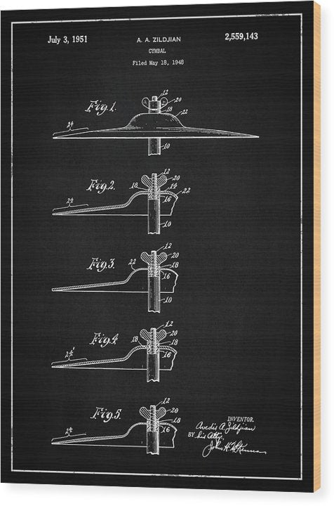 Vintage Zildjian Drum Cymbal Patent, 1951 - Wood Print from Wallasso - The Wall Art Superstore