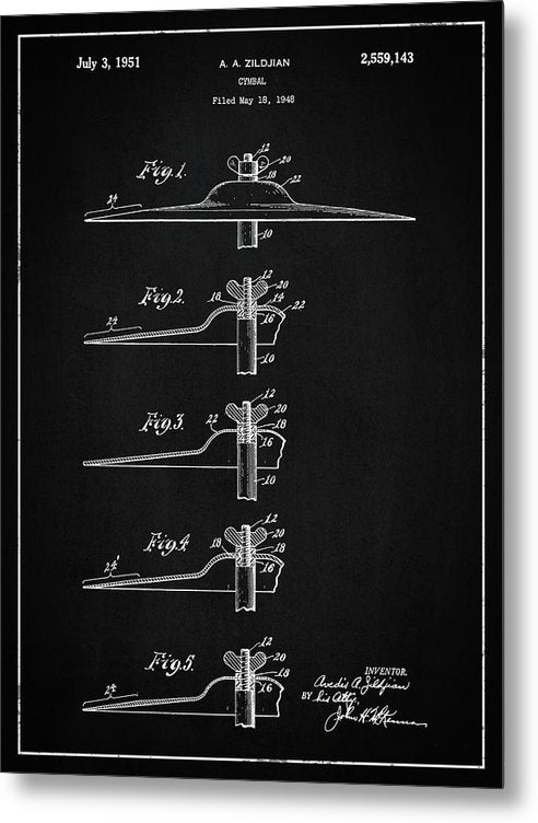 Vintage Zildjian Drum Cymbal Patent, 1951 - Metal Print from Wallasso - The Wall Art Superstore