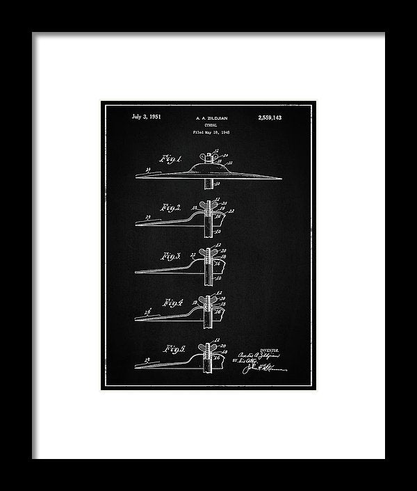 Vintage Zildjian Drum Cymbal Patent, 1951 - Framed Print from Wallasso - The Wall Art Superstore