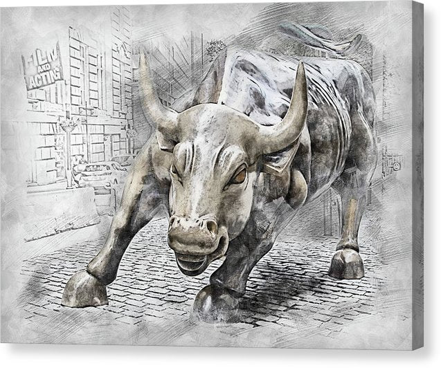Wall Street Charging Bull Statue - Canvas Print from Wallasso - The Wall Art Superstore