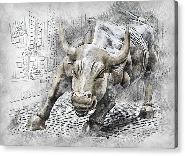 Wall Street Charging Bull Statue - Acrylic Print from Wallasso - The Wall Art Superstore